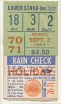 1963 Ticket  NY Mets (9/2/1963) VG+
