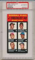 1968 Topps Plaks  Checklist 2 (Clemente/Aaron/Mays/Rose) PSA Authentic