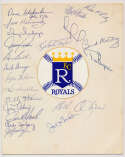 Team Sheet  1969 Kansas City Royals w/Joe Gordon (21 sigs) 9.5