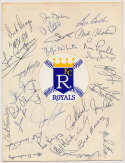 Team Sheet  1969 Kansas City Royals w/Joe Gordon (31 sigs) 9.5