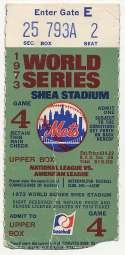 1973 Ticket  World Series Game 4 VG
