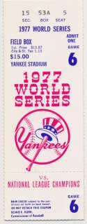 1977 Ticket  World Series Game 6 (Jackson 3 Home Runs) Ex-Mt