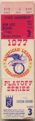 1977 Ticket  ALCS Game 3 VG