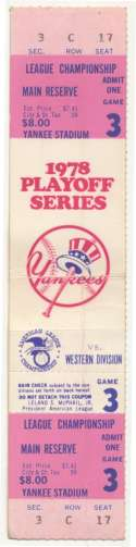 1978 Ticket  ALCS Game 3 Full Ticket VG
