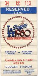 1980 Ticket  All Star Game VG