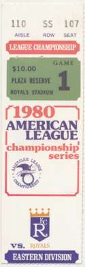 1980 Ticket  Game 1 LCS VG-Ex