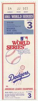 1981 Ticket  World Series Game 3 Ex+