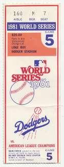 1981 Ticket  World Series Game 5 Ex