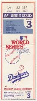 1981 Ticket  World Series Game 3 VG-Ex