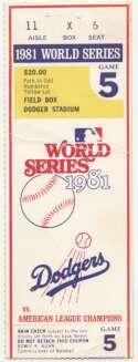 1981 Ticket  World Series Game 5 VG