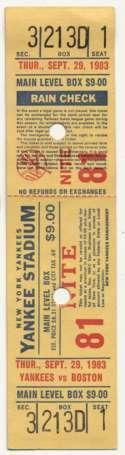 1983 Ticket  Yankee Home Full Ticket (10/2/83) VG-Ex*