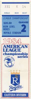 1984 Ticket  Game 2 LCS NM
