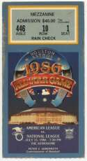 1986 Ticket  All Star Game VG-Ex