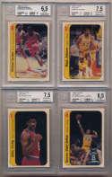 1986 Fleer Stickers  Complete Beckett Graded Set w/Jordan 6.5