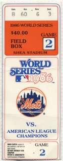1986 Ticket  World Series Game 2 VG