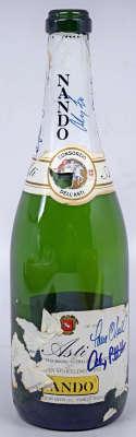 1996 Yankees Signed Champagne Bottle (7 sigs w/Torre) 9 JSA LOA (CARD)