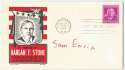 Political  Sam Ervin signed FDC honoring Harlan Stone from 1948 9.5