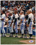 8 x 10  1981 Yankee Old Timers w/DiMaggio & Mantle 9.5