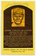 Yellow HOF Plaque 104 Joe McCarthy 9