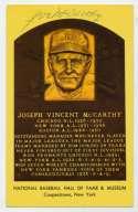 Yellow HOF Plaque 104 Joe McCarthy 7.5 JSA LOA