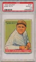 1933 Goudey 181 Babe Ruth PSA 2.5