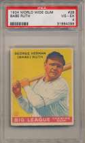 1934 World Wide Gum 28 Babe Ruth PSA 4