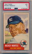 1953 Topps 82 Mantle PSA 5