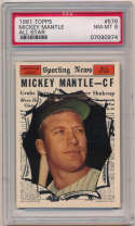 1961 Topps 578 Mantle AS PSA 8