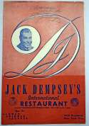 Dempsey, Jack Signed Menu 8