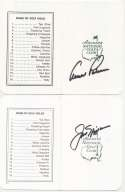 Collection of 21 different Signed Masters Scorecards w/Nicklaus & Palmer 9.5