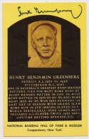 Yellow HOF Plaque 62 Hank Greenberg 9