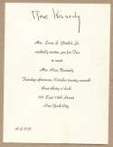 Kennedy, Rose Signed Invitation 9.5