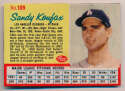 1962 Post Cereal 109.1 Koufax, Blue Line Stats VG+