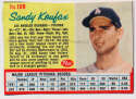 1962 Post Cereal 109.1 Koufax, Blue Line Stats VG