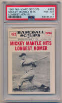 1961 Scoops 422 Mickey Mantle PSA 8