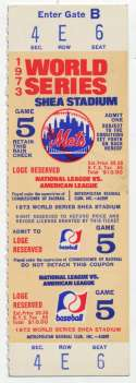 1973 Ticket  World Series Game 5 Full Ticket Ex