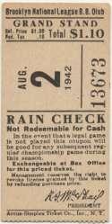 1942 Ticket  Brooklyn Dodgers Home (8/2/42) Ex