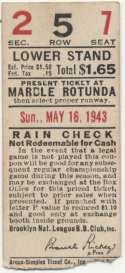 1943 Ticket  Brooklyn Dodgers Home (5/16/43) VG