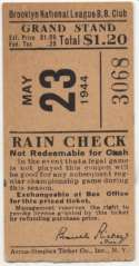 1944 Ticket  Brooklyn Dodgers Home (5/23/44) Ex mk