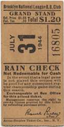 1944 Ticket  Brooklyn Dodgers Home (7/31/44) Ex-Mt
