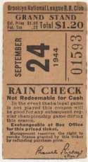 1944 Ticket  Brooklyn Dodgers Home (9/24/44) VG-Ex/Ex mk