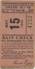 1945 Ticket  Brooklyn Dodgers Home (5/12/45) VG-Ex/Ex mk