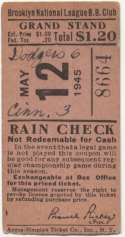1945 Ticket  Brooklyn Dodgers Home (5/15/45) VG-Ex/Ex mk