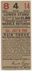 1945 Ticket  Brooklyn Dodgers Home (7/8/45) Ex
