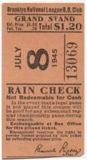 1945 Ticket  Brooklyn Dodgers Home (7/8/45) Good mk