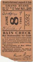 1945 Ticket  Brooklyn Dodgers Home (6/8/45) Good
