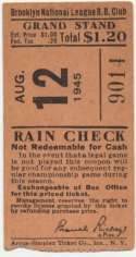 1945 Ticket  Brooklyn Dodgers Home (8/12/45) VG-Ex mk