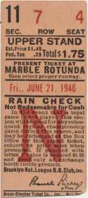 1946 Ticket  Brooklyn Dodgers Home (6/21/46) VG-Ex