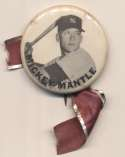1950 PM10 Pin  Mickey Mantle (batting to waist, white background, name from wrist to shoulder) Ex