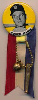 1950 PM10 Pin  Roger Maris (yellow background, bat behind head, 1-3/4) NM w/ornaments
